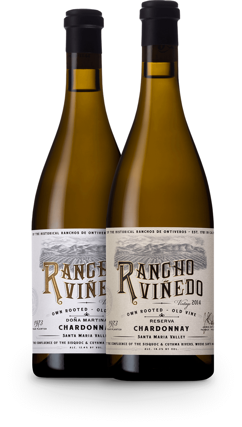 Two bottles of Rancho Viñedo wine