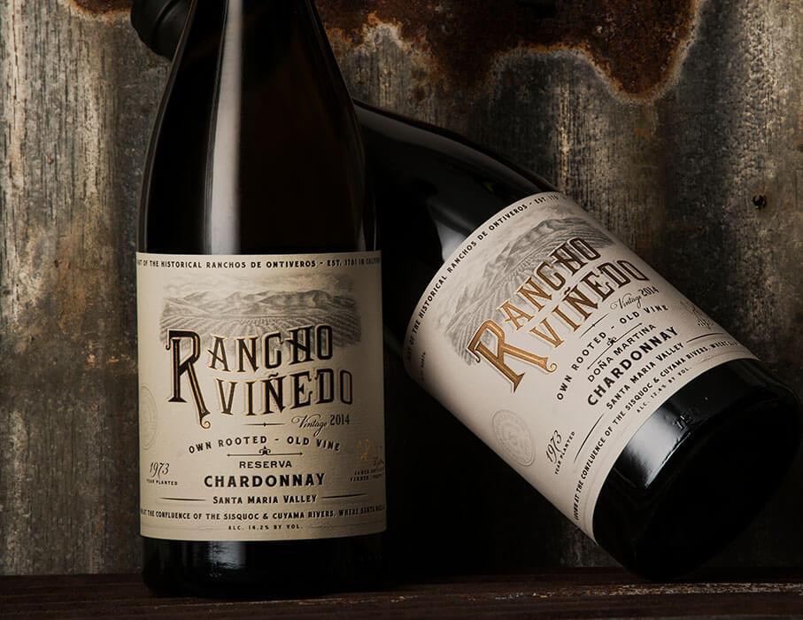 Bottles of Rancho Viñedo wine